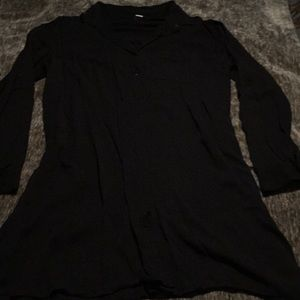 Nearly New, 3/4 Sleeve, Black Button Up Tee/Dress